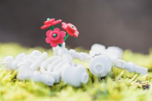 two lego skeletons lie on the grass holding a bouquet or red flowers between them