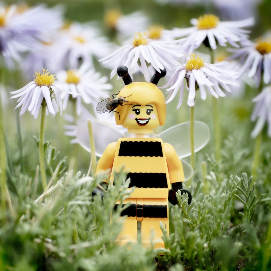 A LEGO bee stands in a field of flowers smiling while a fly has landed on her head.
